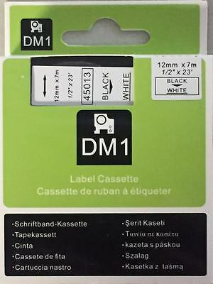 "1 Dymo COMPATIBLE D1 Labels Black On White Labeling Tape 45013 1/2"" X 23'"