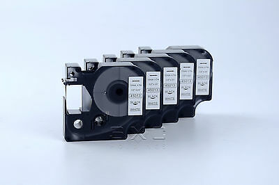 """5 Pack Dymo COMPATIBLE D1 Labels Black On White Labeling Tape 45013 1/2"""" X 23'"""