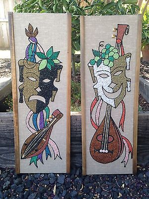 Mid Century Gravel Art Comedy-Tragedy Pair Wall Hangings