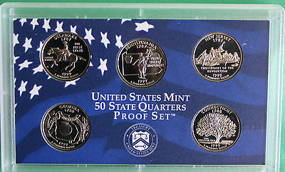 1999 S Five Coin State QUARTER Proof 5 Coin Set No Box 5 Statehood Coins 25c