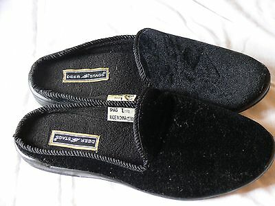 New Without Tags Men's Rare Deer Stags Shag Slippers,Velvet Black, U.S. L 11/12