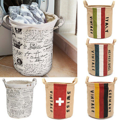 Foldable Cotton Linen Washing Clothes Laundry Basket Sorter Bag Hamper Storage S