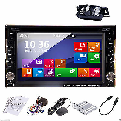 GPS Navigation HD Double 2din Car Stereo DVD Player Bluetooth iPod MP3 BT+Camera