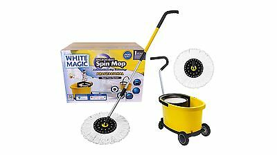 White Magic Microfibre Spin Mop with Bucket and Spare Mop - Professional