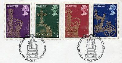 GB = 1978 `25th Anniversary of the Coronation` set/4 on piece. V.F.Used (ex-FDC)