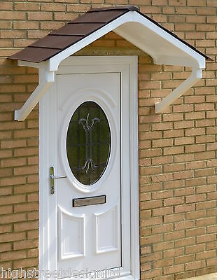 Door Canopy Rain Shelter - White frame Apex with choice of roof tile colours