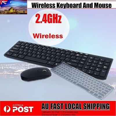2.4G USB Optical Wireless Keyboard And Mouse Cordless For PC Laptop Black SALE