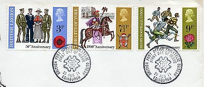 GB = 1971 `General Anniversaries` set/3 on piece. V.F.Used (ex-FDC) (b)