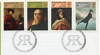 GB = 1973 `British Paintings` set/4 on piece. V.F.Used (ex-FDC) (a)