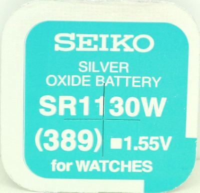 Seiko 389 (SR1130W) Silver Oxide (0%Hg) Mercury Free Watch Battery Made in Japan