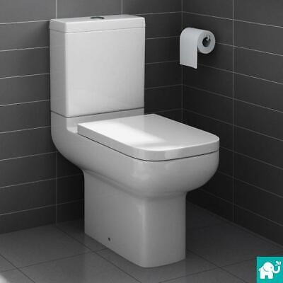 Square Short Projection Close Coupled Toilet Pan Cistern WC Bathroom CT642CCT