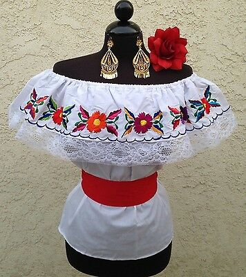 Mexican Embroidered Blouse On/Off Shoulder w/small Sash. Blusa Bordada Mexicana