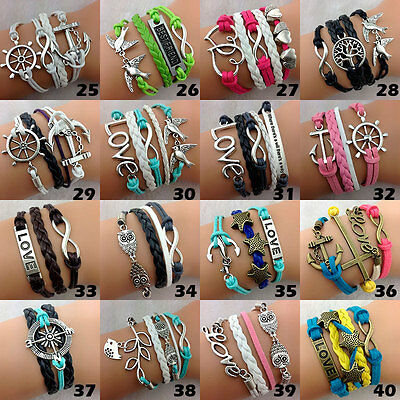 30PCs/Lot Mix Women's Leather Hand Made Multilayer Cuff Ethnic Tribes Bracelets