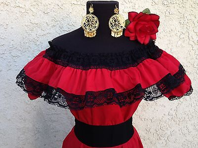 Mexican Blouse Red Adelita On/Off Shoulder w/Small Black Sash. Blusa Adelita