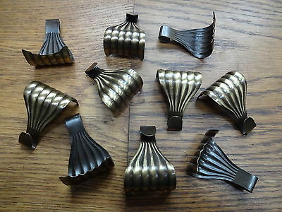 Set Of 10 Antiqued Brass Picture Rail Hooks