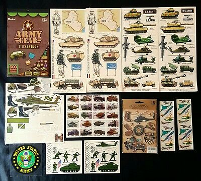 Lot of U.S. Army Scrapbook Stickers - Military Tanks Helicopter Guns Dog Tags