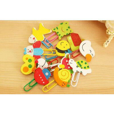 12PCS Creative Cartoon Bookmarks Clip Office School Paper Note Book Marks Gifts