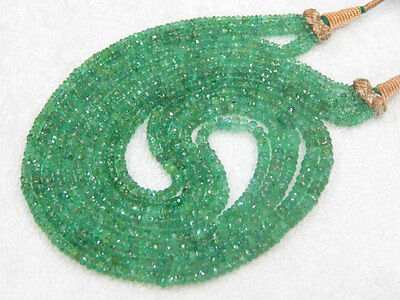 320 Ct Top Fine Quality 100% Natural Zambian Emerald Rondelle Beads Necklace 18""