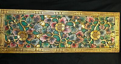 """Balinese Lotus architectural Panel carved wood Bali wall Art architectural 38""""L"""