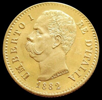 1882 R Gold Italy 20 Lire Umberto I Coin Mint State Condition