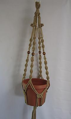 Macrame Plant Hanger 39in with BEADS 6mm Button Knot Choose COLOR