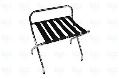 Folding Chrome Hotel Luggage Racks with backs - (4) Pack - Ex Olympics Rio