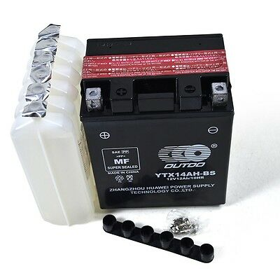 YTX14AH-BS 12V 12Ah Battery for Yamaha SRX250 XS360 XS400 XV500 Virag