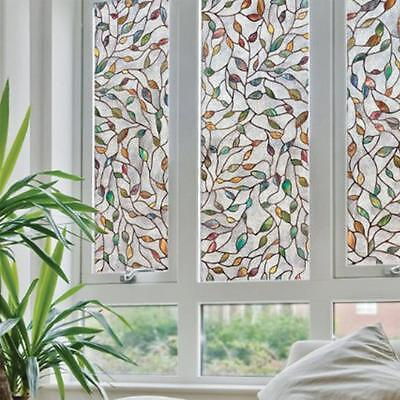 45x100cm Leaf Static Cling Stained Glass Window Film Window Home Decoration