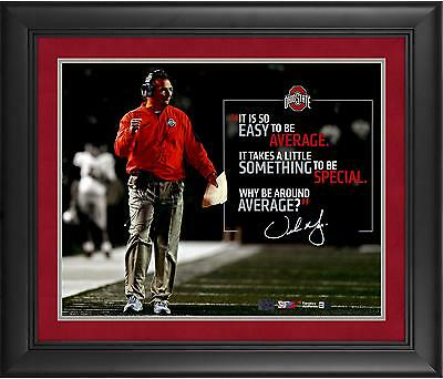 "Urban Meyer Ohio State Buckeyes Framed Autographed 16"" x 20"" Quote Photograph"