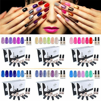 Elite99 8pcs Kit de Esmalte de Uñas de Gel UV Color + Top&Base Coat Manicura 7ml