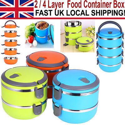 Portable Stainless Steel Thermal Insulated Lunch Box Bento Food Containe New UK