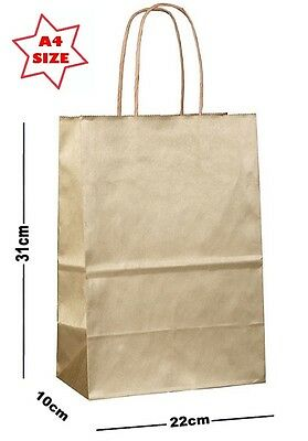10 x Gold Paper Party Gift Bags ~ Boutique Shop Loot Carrier Bag - SIZE A4