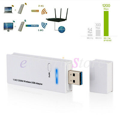 Dual Band Wireless USB WiFi Dongle Adapter Network 2.4Ghz/5Ghz 1200Mbps Win 10