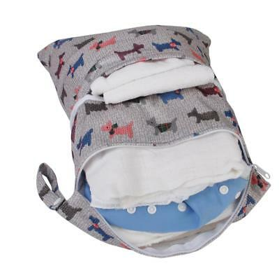 Reusable DUAL ZIPPER Baby Cloth Diaper Nappy Wet Dry Bag Swimmer Tote w/ Dog