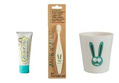 JACK N JILL Childrens Bathroom Package (Toothbrush,Toothpaste,Rinse Cup)