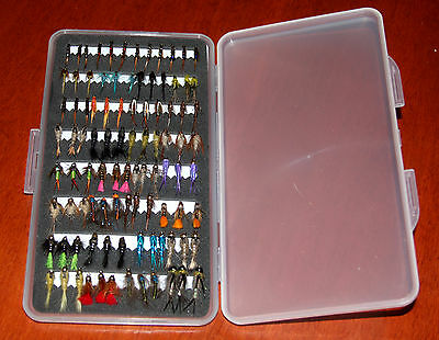 Free Fly Box Plus Mixed Trout Fishing Flies Wet Dry Nymphs Buzzers 10 25 50 100
