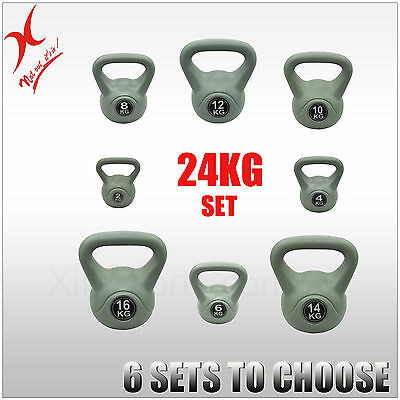24Kg Silver Kettlebell Weight Set - Home Gym Training Kettle Bell Exercise