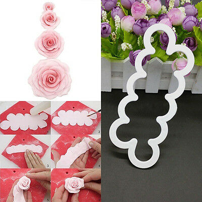 3pcs/set 3D Cake Rose Petal Flower Cutter Fondant Icing Tool Decorating Mould