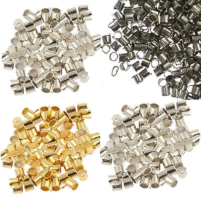 500Pcs Metal Crimps Stopper End Beads - Silver / Gold / Bronze / Black Plated