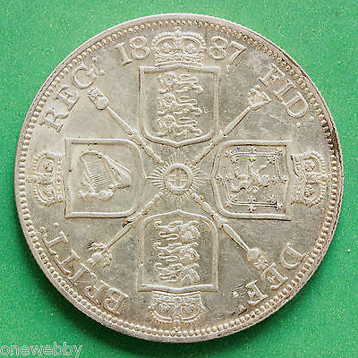 1887 Queen Victoria Silver Double Florin Arabic I for the date SNo40403.