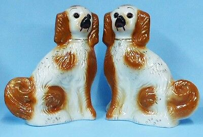 Pair Large Antique Staffordshire Dogs - Brown/cream Seated Spaniels - Circa 1875