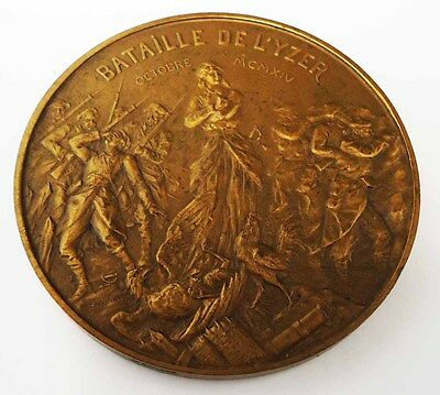 Rare antique French bronze commemorative medallion - The Battle of L'Yzer