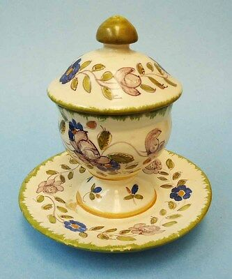 Handpainted Martres Tolosane (France) faience covered egg cup