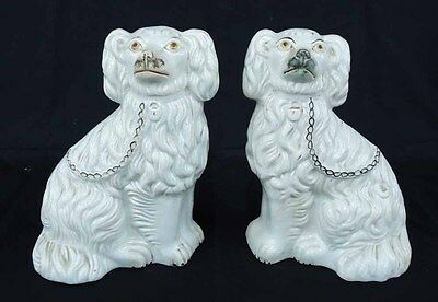 Pair Antique Staffordshire Dogs - White Seated Spaniels - Circa 1900