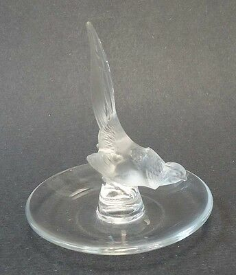 Lalique France Crystal Bird Pin Tray - Pheasant Tail Up