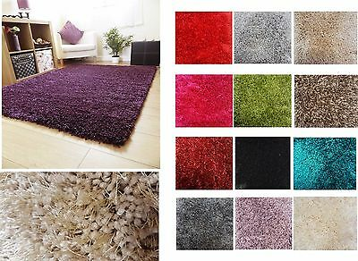 Modern Super Soft Thick Plain Shaggy Rug Non Shed Deep Pile Small X Large Sizes