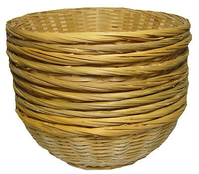 10 x ROUND Bamboo Bread Fruit Wicker Gift Basket Hamper Display Tray - 12""