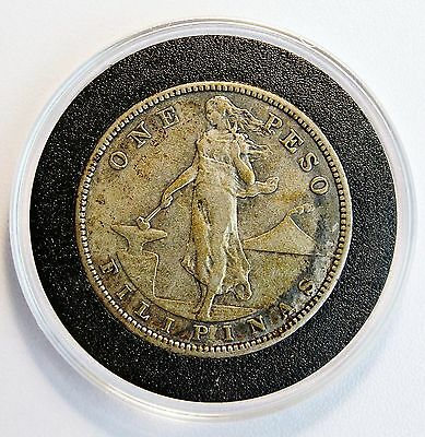 1907 S 1 Peso US-Philippines Silver Coin Manila Bay XF/AU Details LV#634