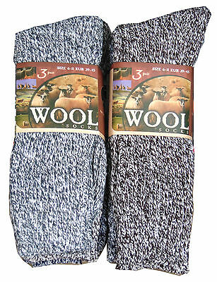 6 Pairs Mens Dark Thick Wool Thermal Socks Winter Warm Walking Hiking Work Boot