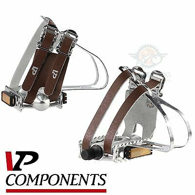 Alloy Dual Double Toe Clips Strap Bicycle Pedals Vintage Road Track Bike 581